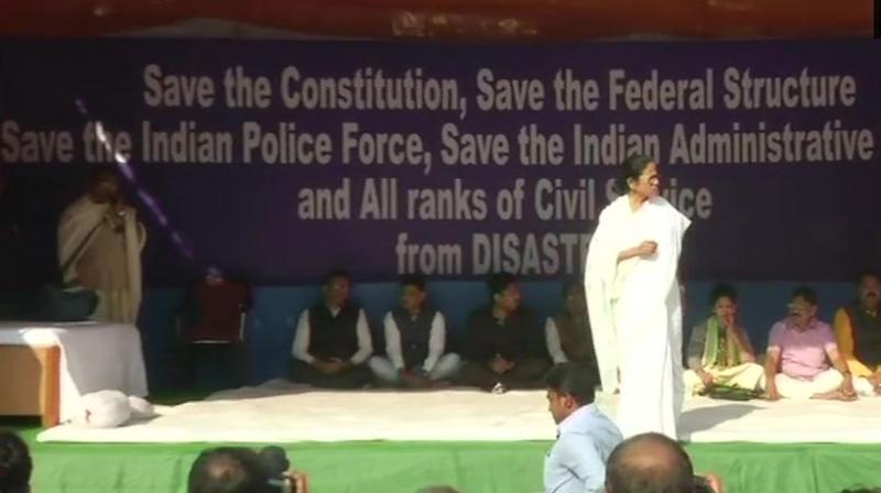 The CM has been on the dharna since the night of February 3.  (Photo: ANI   Twitter)