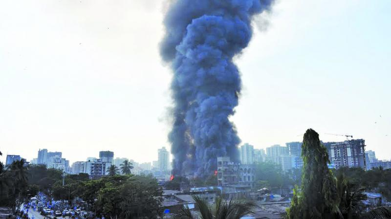 A major fire broke out at a furniture market in Oshiwara area of Jogeshwari on Friday. No casualties were reported in the blaze. (Photo: Rajesh Jadhav)