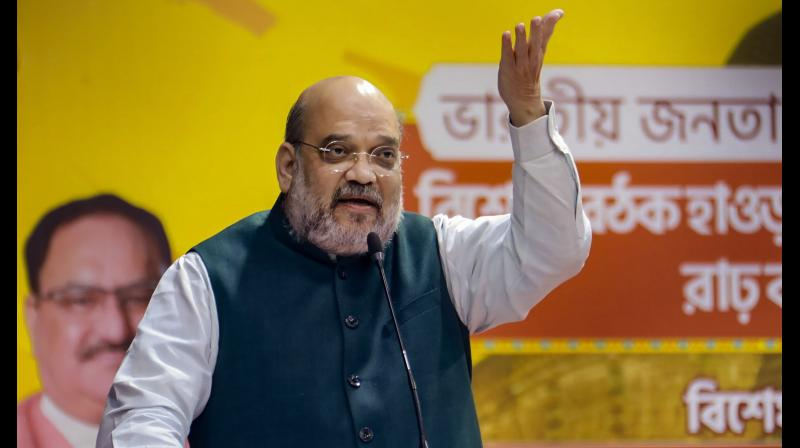 Bankura: Union Home Minister Amit Shah addresses BJP Bengal unit workers, in Bankura district, Thursday, Nov. 5, 2020. (PTI Photo)