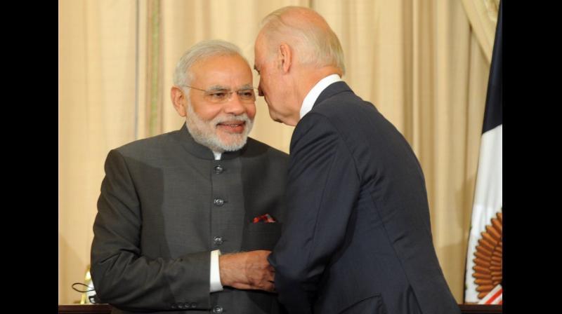 Prime Minister Narendra Modi with President-elect Joe Biden (file photo)