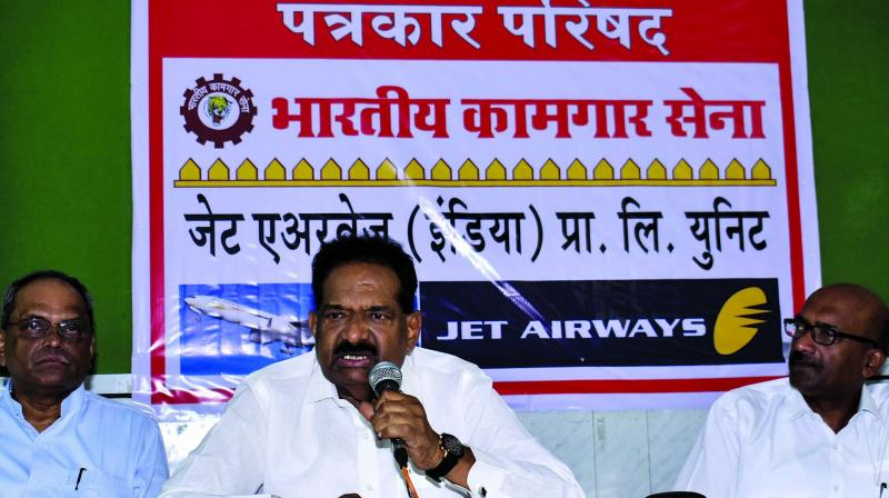 The Bhartiya Kamgar Sena's Suryakant Mahadik holds a press conference on Monday. (Photo: Debasish Dey)
