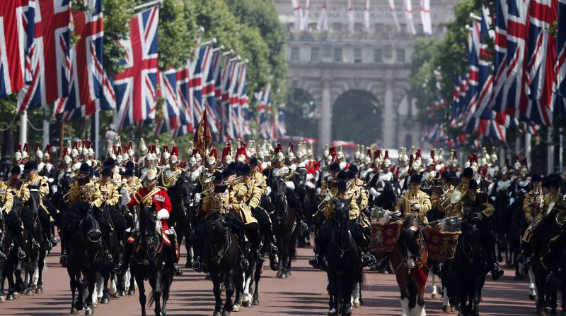 Soldiers parade during the annual Trooping the Colour Ceremony in London, Saturday, June 9, 2018. (Photo: AP)