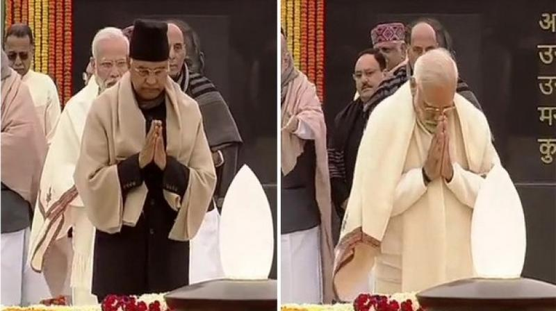 President Ram Nath Kovind and Prime Minister Narendra Modi paid floral tributes to former prime minister Atal Bihari Vajpayee on his 95th birth anniversary at the 'Sadaiv Atal' memorial in Delhi on Wednesday morning. (Photo: ANI)