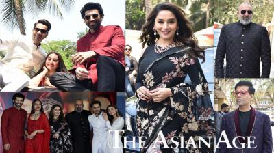 Karan Johar launched his highly-anticipated film, Kalank's teaser on Tuesday afternoon. Kalank stars Madhuri Dixit, Sonakshi Sinha, Alia Bhatt, Varun Dhawan, Aditya Roy Kapur and Varun Dhawan made grand presence at the teaser launch of their upcoming magnum opus. (Pictures: Viral Bhayani)