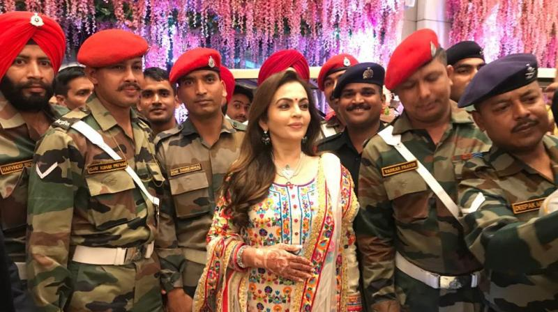 Nita Ambani with Indian soldiers.