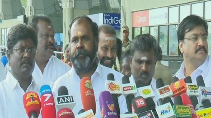 Tamil Nadu minister R B Udaykumar talks to media. (Photo: ANI)