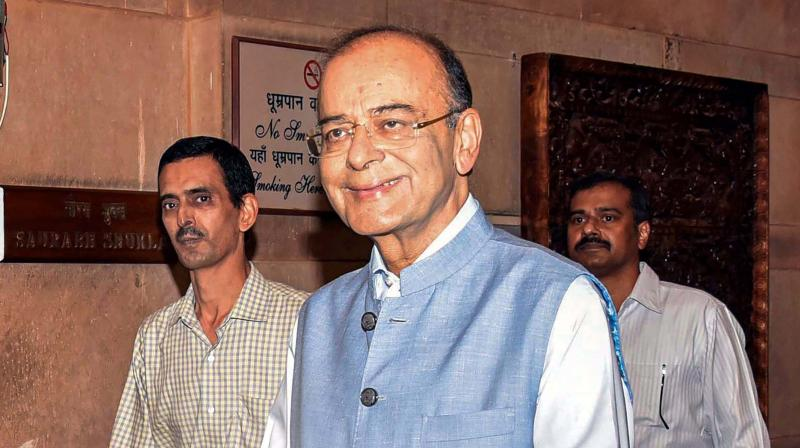 Senior BJP leader Arun Jaitley outside the finance ministry at North Block in New Delhi on Thursday. (Photo: PTI)