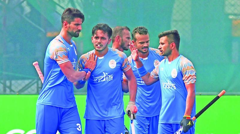 Indian players celebrate a goal against Hong Kong China. (Photo: AP)