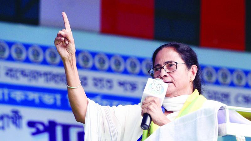 Chief minister Mamata Banerjee addressing an election rally at Hura in Purulia district on Wednesday. (Photo: Asian age)