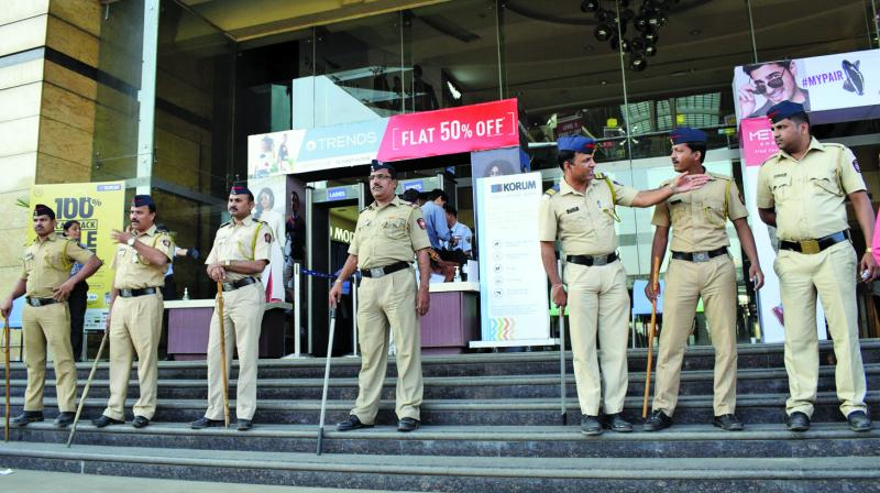 Policemen deployed outside city multiplexes, ahead of Padmaavat's release. (Photo: Deepak kurkunde)