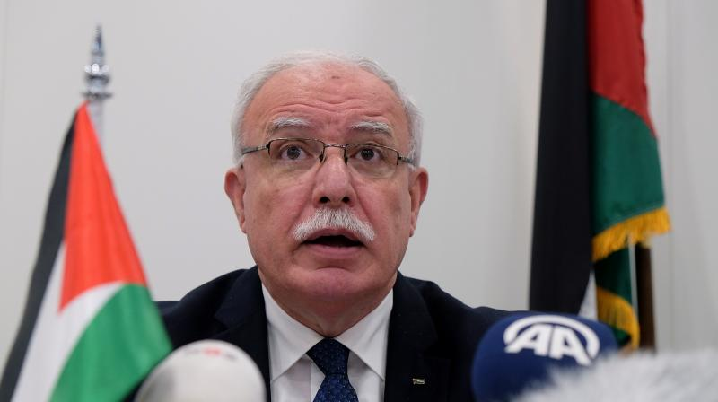 Palestinian Foreign Minister Riyad al-Malki told the Arab League in Wednesday's meeting that the Palestinian Authority called for an emergency meeting following the announcement of the UAE-Israeli deal. (AP)
