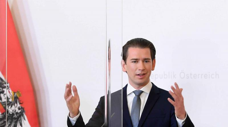 Austrian Chancellor Sebastian Kurz gives a press conference in Vienna on Monday. (AFP)