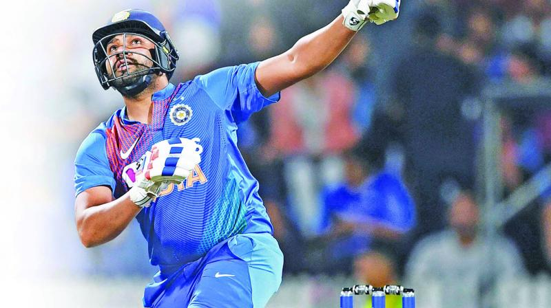 Rohit Sharma in action during the  third T20I against New Zealand in Hamilton on Wednesday. (Photo: PTI)