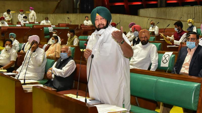 Punjab Chief Minister Captain Amarinder Singh speaks during the second day of the Special Vidhan Sabha Session, in Chandigarh, Tuesday, Oct. 20, 2020. (PTI)