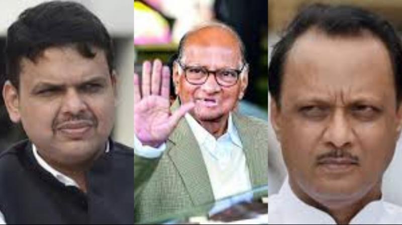 Devendra Fadnavis (L), Sharad Pawar (C), Ajit Pawar (R) (Photo: File)
