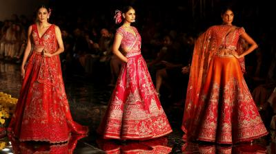 Sulakshana Monga took a fresh spin on traditional bridal colours of red and pink and introduced new and edgy motifs on them. (Photo: AP/ Altaf Qadri)