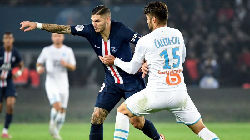 Mauro Icardi and Kylian Mbappe both scored twice as Paris Saint-Germain demolished their old rivals Marseille 4-0 on Sunday in a game that further laid bare the gulf that exists between the sides and allowed the reigning champions to extend their lead at the top of Ligue 1. (Photo:AFP)
