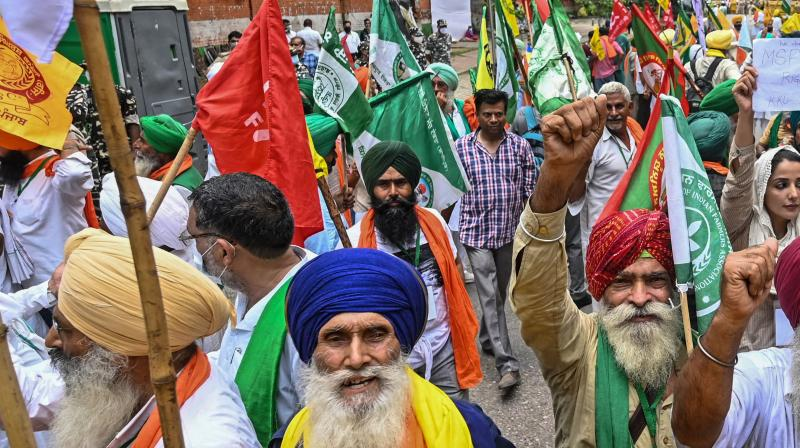 Protesting farmers stage a demonstration against the central government's recent agricultural reforms in New Delhi on July 22, 2021. (Money SHARMA / AFP)