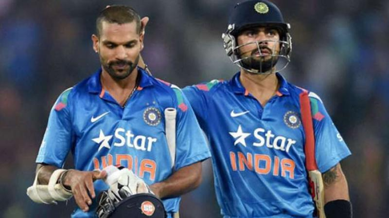 Dhawan's unbeaten 86 in the first game of the ongoing three-ODI series in Colombo helped him accumulate 712 rating points and gain two slots, while Kohli has 848 points. (PTI Photo)