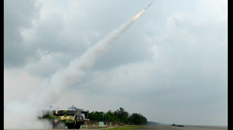 The surface-to-air missile was launched from the Integrated Test Range (ITR). (Photo: Twitter/PIB)