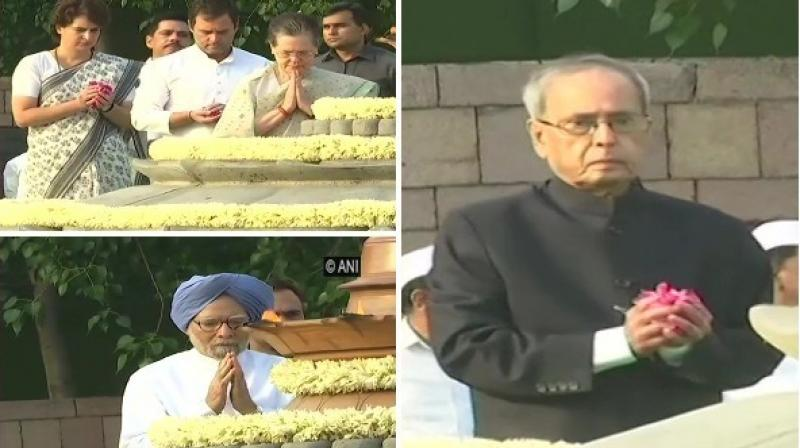 Former prime minister Manmohan Singh and former President Pranab Mukherjee paid homage to the late prime minister. (Photo: ANI)