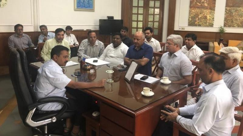 Present in the meeting were senior cabinet colleagues like Deputy Chief Minister Manish Sisodia, Minister Development, Labour & Employment, General Administration Gopal Rai and others. (Photo: ANI)