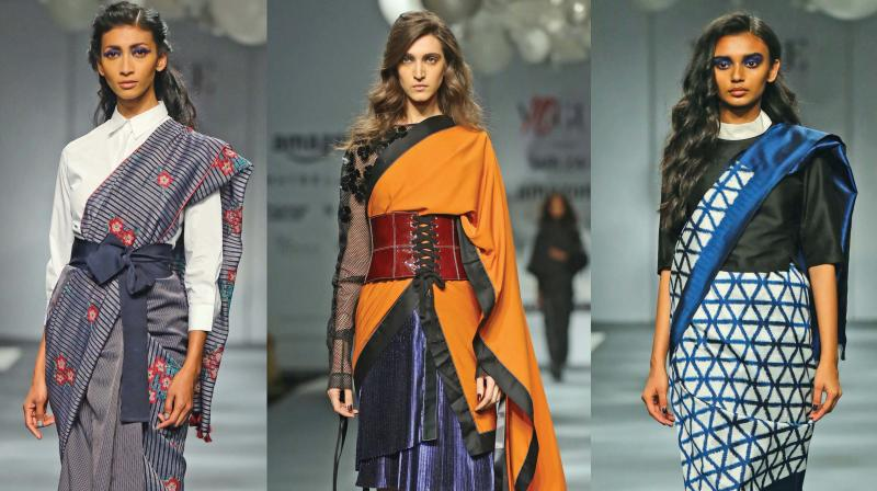 Models in outfits by Rahul Mishra,  Payal Pratap, Dhruv Kapoor, Abraham & Thakore (Photo: Bunny Smith)