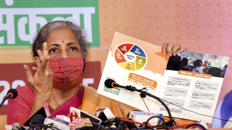 Union Finance Minister Nirmala Sitharaman addresses a press conference, ahead of the Bihar Assembly Elections, in Patna. (PTI)