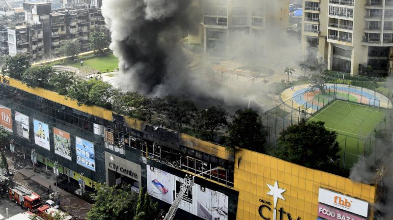 Smoke rises from City Central Mall after fire broke out in it, in Mumbai, Friday, October 23, 2020. (PTI)