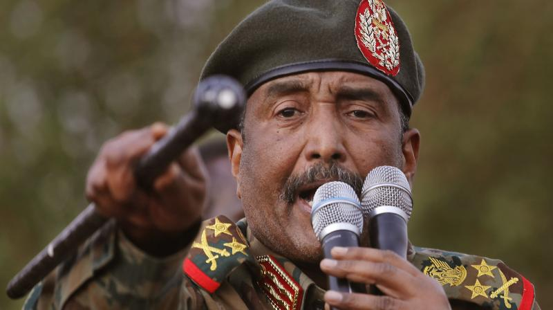 Sudanese Gen. Abdel-Fattah Burhan, head of the military council, speaks during a military-backed rally, in Omdurman district, west of Khartoum, Sudan. Officials in Sudan confirmed that a senior U.S.-Israeli delegation flew to Sudan on a private jet Wednesday, Oct. 21, 2020, and met with Burhan and others to wrap up a deal that would make Sudan the third Arab country to normalize ties with Israel this year. (AP)