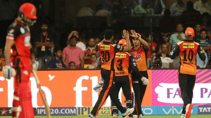 SRH players celebrate Parthiv Patel's wicket. (Photo: BCCI)