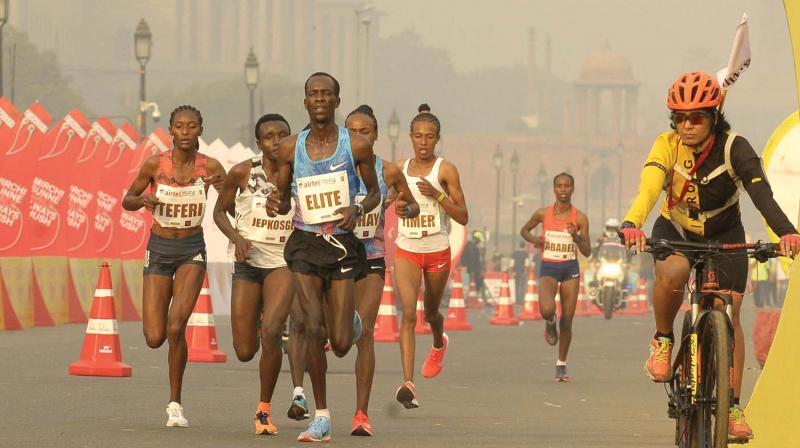 The elite women's athlete in action during the Airtel Delhi Half Marathon on Sunday. (Photo: Pritam Bandyopadhyay)