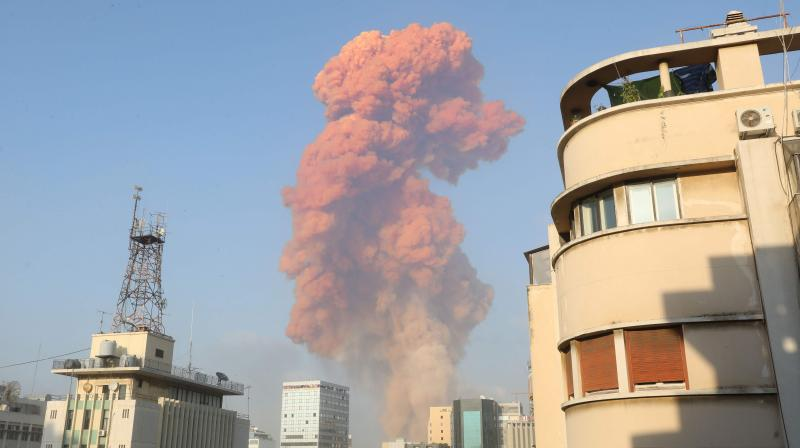 A picture shows the scene of an explosion in Beirut. AP photo