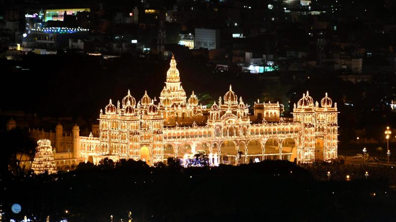 Mysore Palace decorated with 100,000 light bulbs. (Photo: PTI)