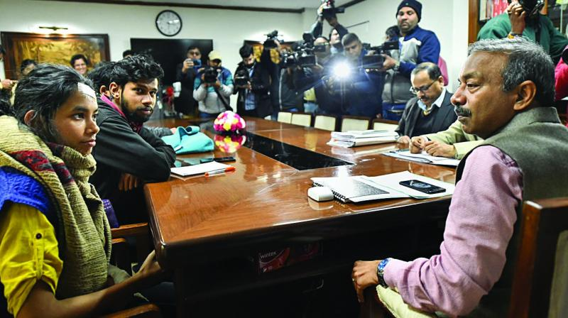 JNU Students' Union president Aishe Ghosh during a meeting with HRD secretrary Amit Khare in New Delhi on Friday. (Photo: PTI)