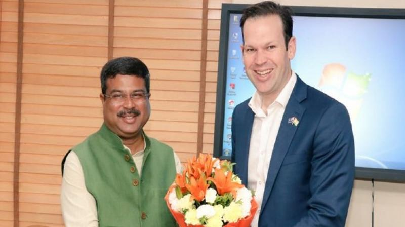 The Union Minister, in a series of tweets, said: 'Had an engaging discussion with Senator @mattjcan, Minister for Resources & Northern Australia. We discussed the importance of energy and resources in India-Australia bilateral relationship, and agreed to expand the scope of cooperation on a wider range of energy resources.' (Photo: ANI)