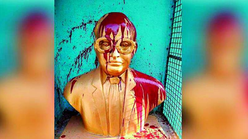 A bust of B.R. Ambedkar desecrated at Tiruvottiyur in Chennai.