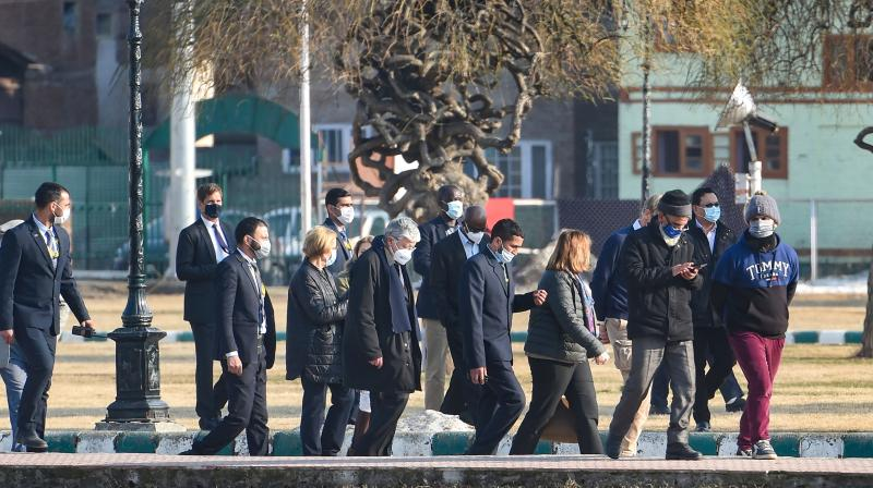 A delegation of 24 ambassadors from the European Union arrive at Hazratbal Shrine, in Srinagar on February 17, 2021. A delegation of 24 envoys of several countries in India including European Union, Latin America and Africa envoys in India arrived on a two-day visit to Jammu and Kashmir for assessing the situation following the abrogation of Article 370 in August 2019. (PTI/S. Irfan)