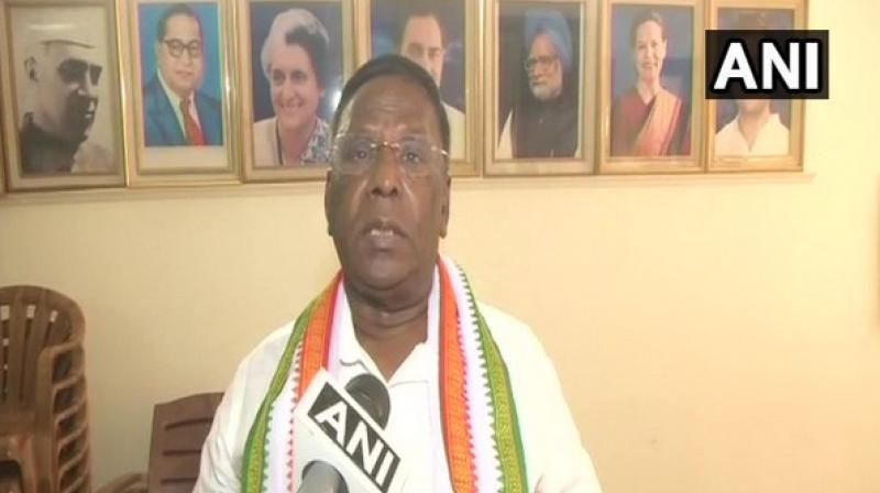 Continuing his attack on Modi, Narayanaswamy said that the Prime Minister was talking more on Pulwama attack, surgical strike and Pakistan and said he 'insulted' the armed forces by taking credit. (Photo: ANI)