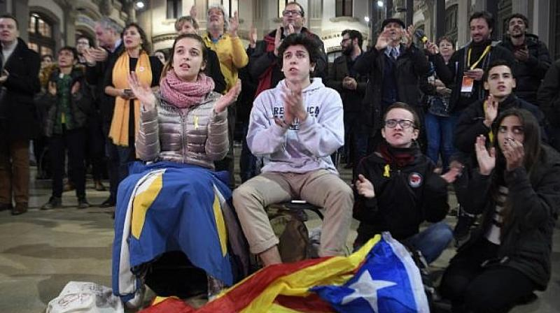 The declaration came weeks after a banned independence referendum on October 1, which saw a police crackdown that sent shockwaves around the world. (Photo: AFP)