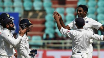 Jayant Yadav scalped four wickets, chipped in with 62 runs and played a part in a brilliant run out to dismiss England's Haseeb Hameed in the first innings of the second Test in Visakhapatnam. (Photo: AFP)