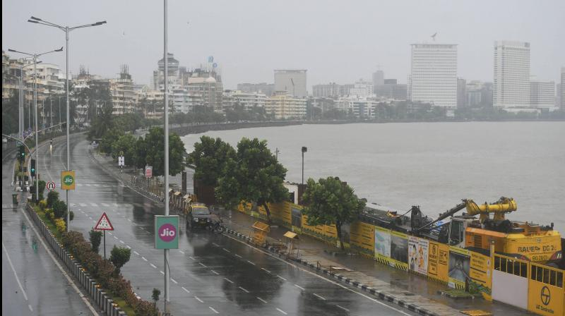 Marine Drive wears a deserted look as Cyclone Nisarga is expected to make landfall, in Mumbai. PTI photo