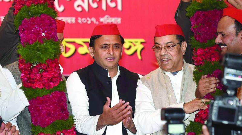 Former UP CM Akhilesh Yadav at a function in Kolkata on Saturday. (Photo: PTI)