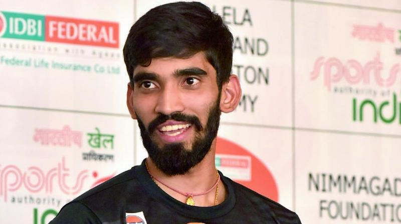 Srikanth Kidambi at a felecitaion event in Hyderabad on Tuesday. (Photo: R. Pavan)