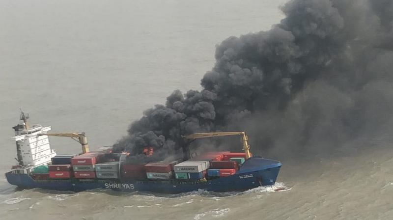 The rough sea wind is hampering the rescue operation as the fire is yet to be brought under control. (Photo: Asian Age)