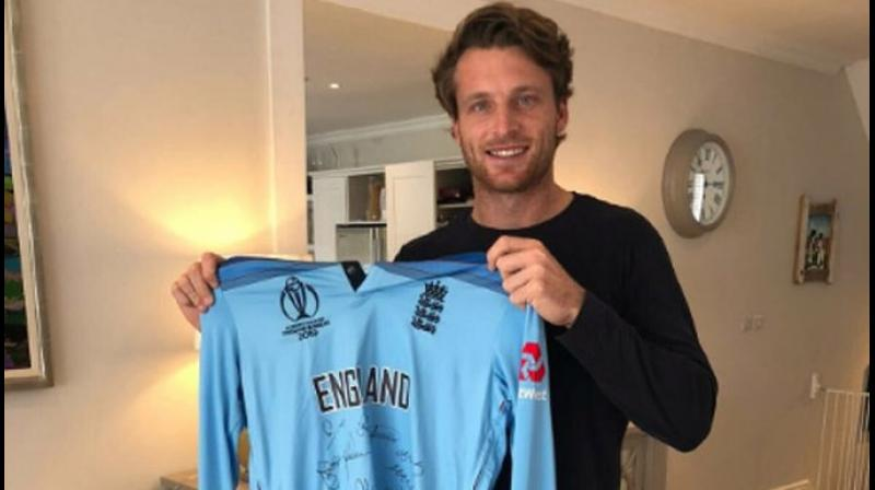 Jos Buttler with his World Cup-winning jersey.