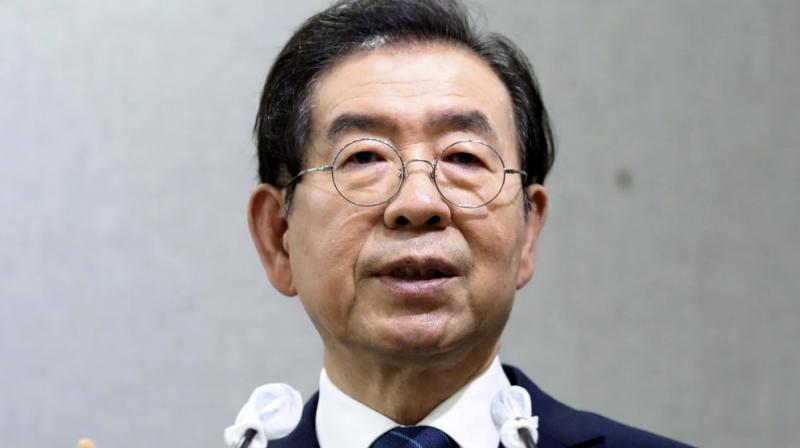 Seoul Mayor Park Won-soon speaks during a press conference at Seoul City Hall in Seoul, South Korea Wednesday, July 8, 2020. (AP)
