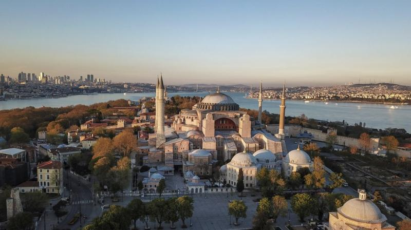 Aerial view of the Byzantine-era Hagia Sophia, one of Istanbul's main tourist attractions in the historic Sultanahmet district of Istanbul. (AP)