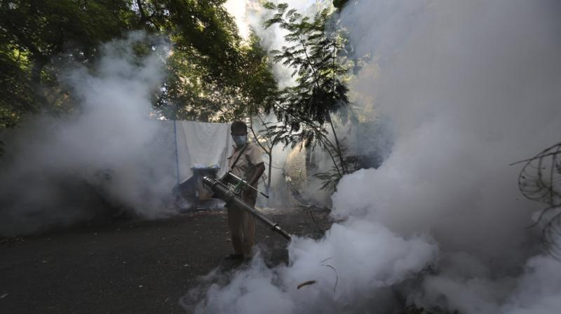A Mumbai Municipal Corp. worker fumigates a street in Mumbai, India, Wednesday, June 10, 2020. While 2019 was the worst year on record for global dengue cases, experts fear an even bigger surge is possible because their efforts to combat it were hampered by restrictions imposed during the coronavirus pandemic. (AP)