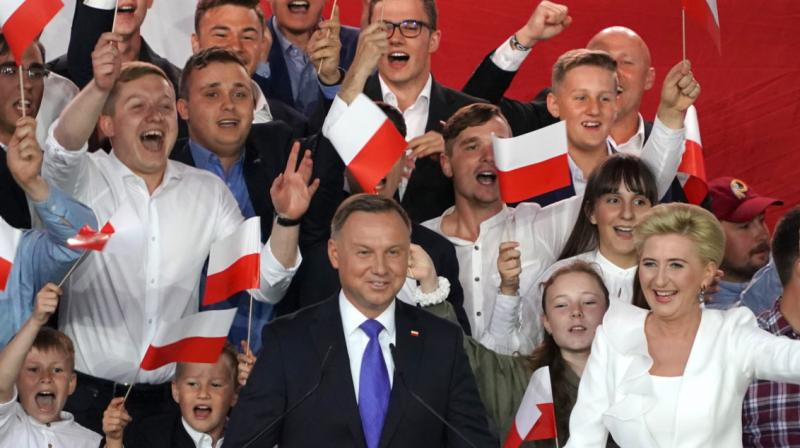 Polish President Andrzej Duda after addressing supporters as exit poll results were announced during the presidential election in Pultusk, Poland. (AFP)